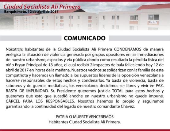 Carmen Meléndez rechazó muerte de Bryan Principal en Barquisimeto (COMUNICADO)