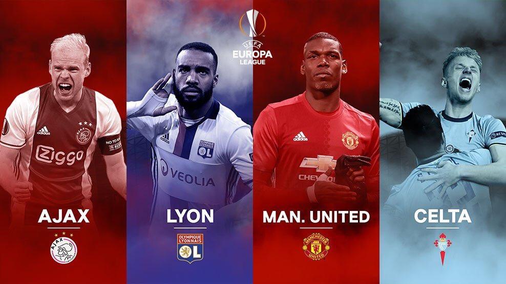 Celta-Mánchester United y Ajax-Lyon serán los cruces de semis de la Europa League