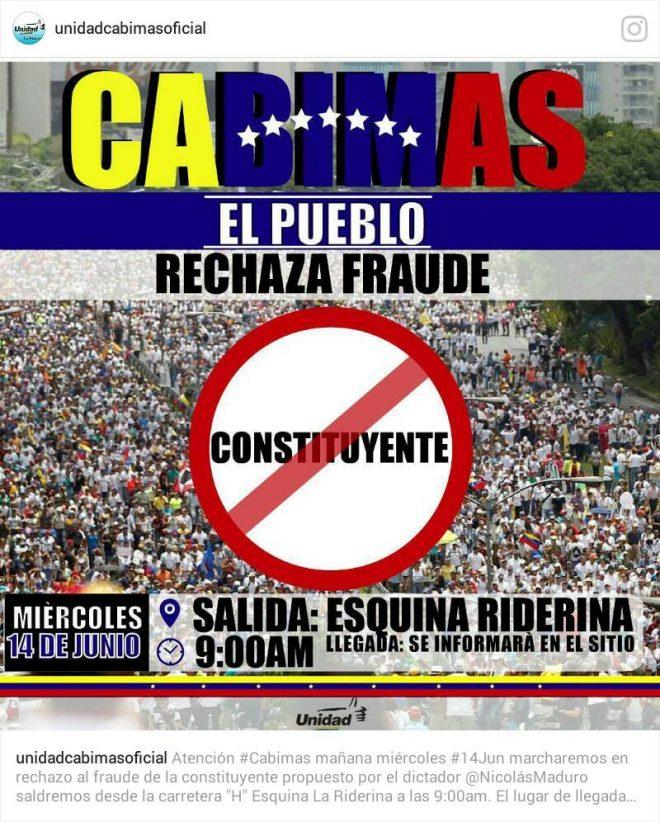 Oposición marchará este miércoles en Cabimas contra el fraude constituyente