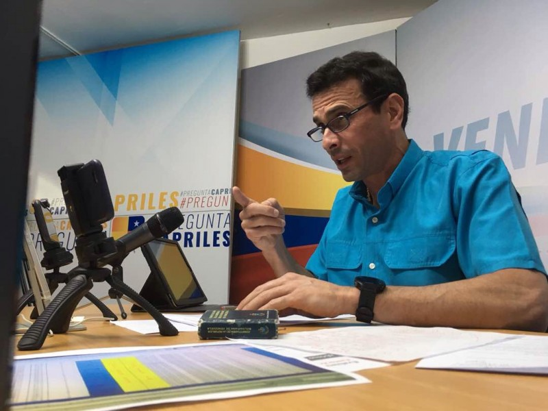 Capriles: los venezolanos queremos que se detenga el fraude constituyente