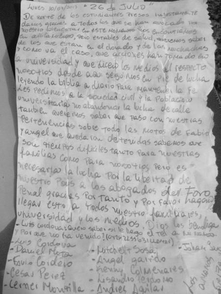 Universitarios y dirigente de VP presos en Guárico exhortaron a los venezolanos a mantener la lucha en las calles