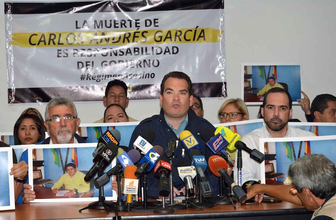 Primero Justicia responsabiliza a Nicolás Maduro de la muerte del Concejal Carlos Andrés García